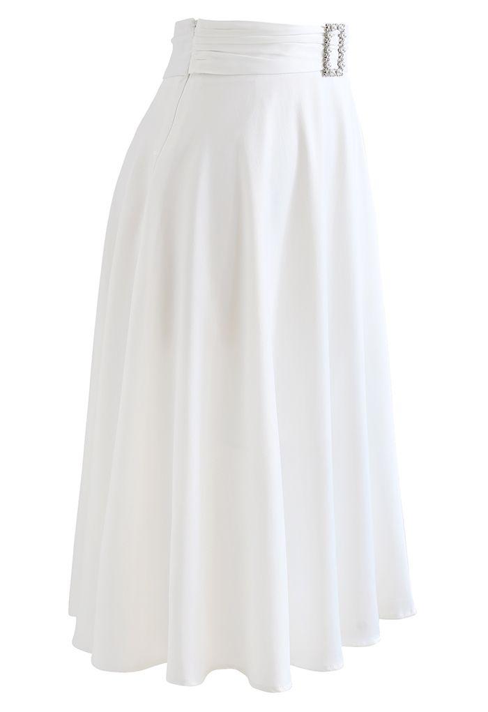 Brooch Detail Satin A-line Midi Skirt in White