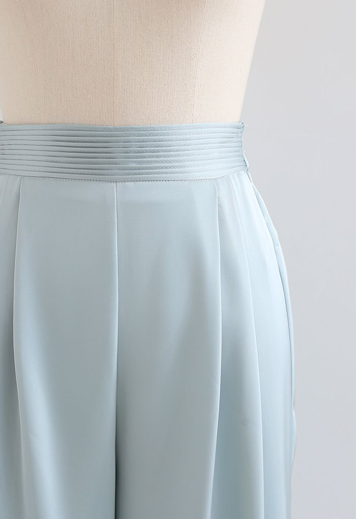 Glossy Pleated Wide Leg Pants in Mint