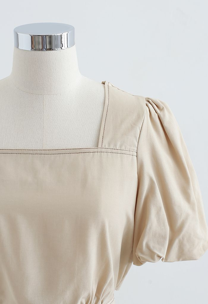 Buttoned Back Self-Tie Crop Top in Tan