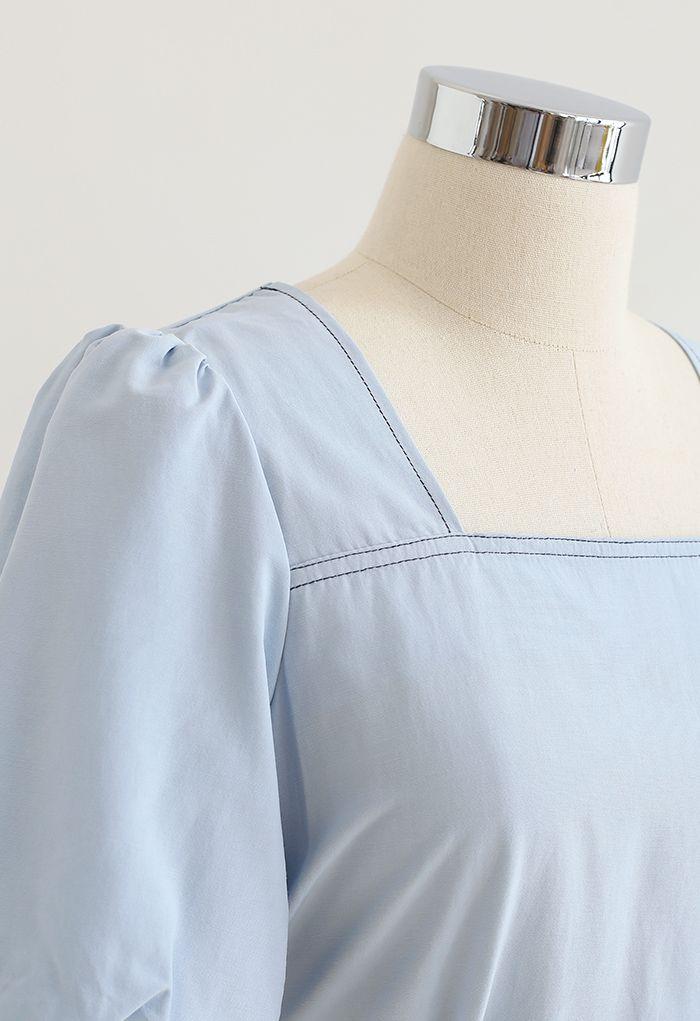 Buttoned Back Self-Tie Crop Top in Sky Blue