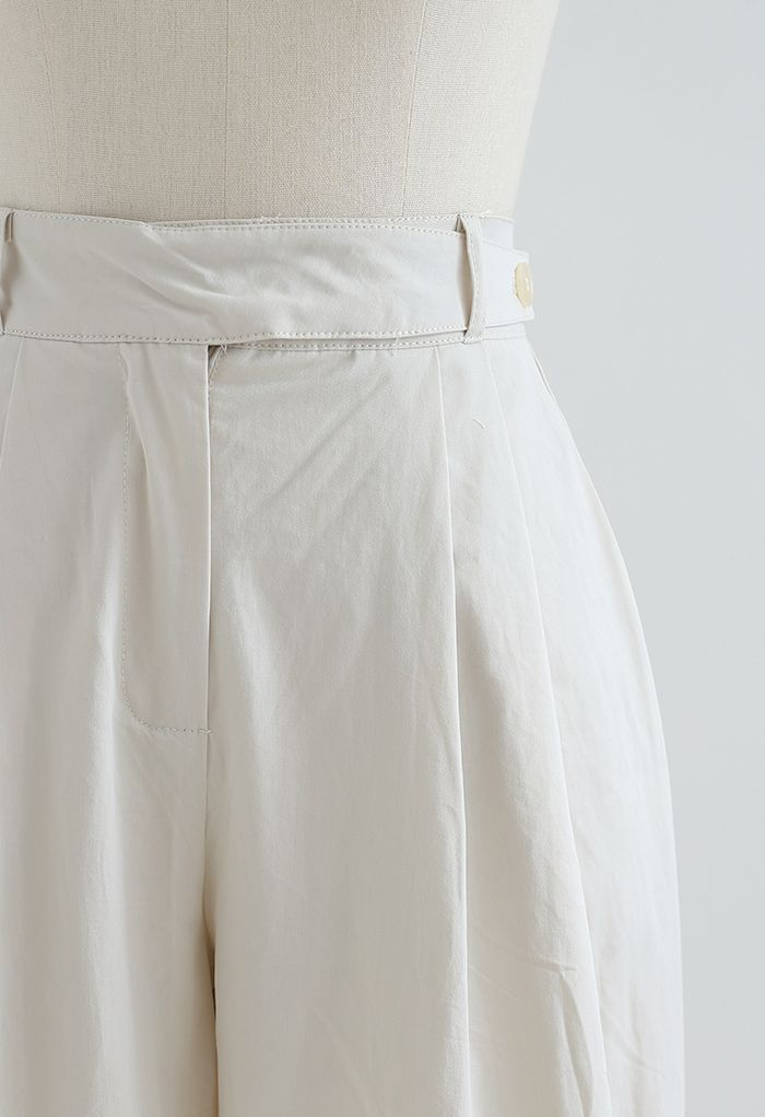 Belted Waist Straight Leg Cotton Pants in Ivory