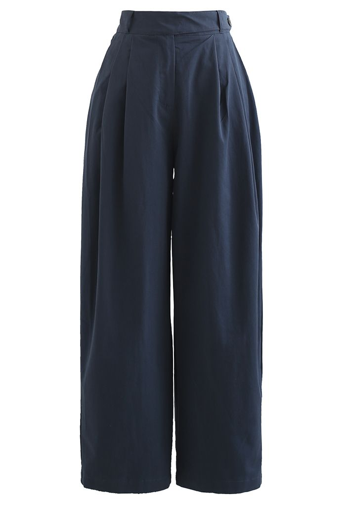 Belted Waist Straight Leg Cotton Pants in Navy