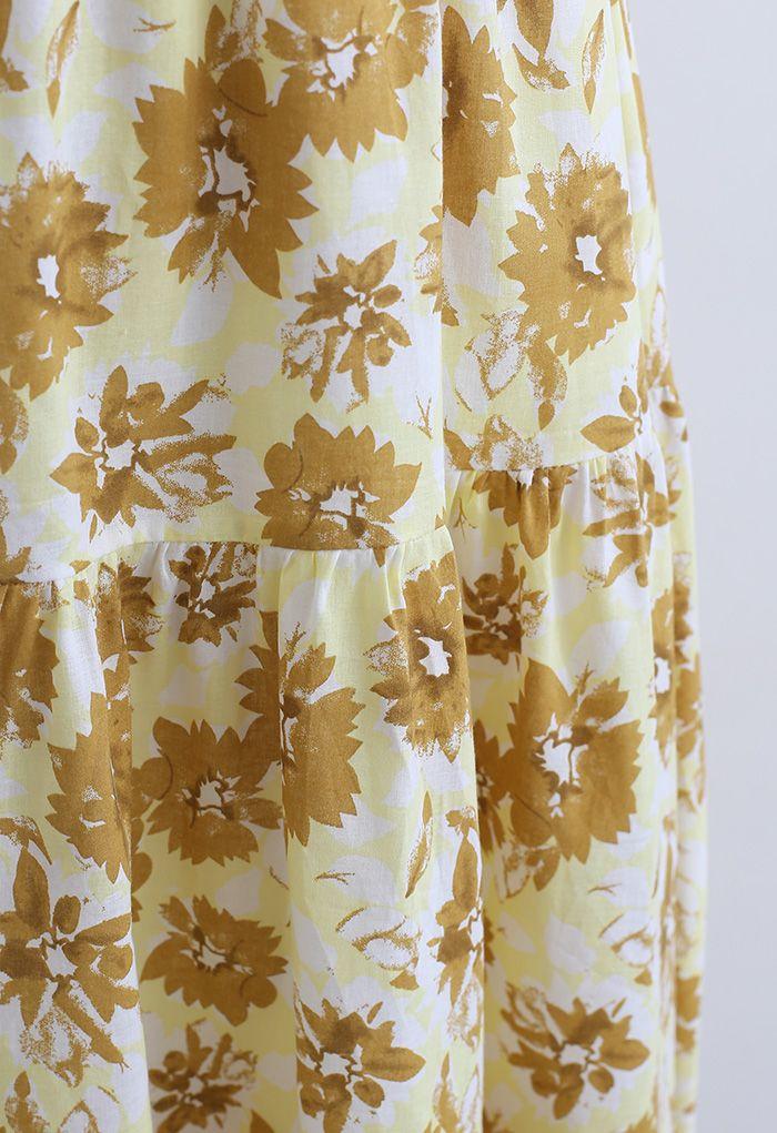 Floral Print Cotton Midi Skirt in Mustard