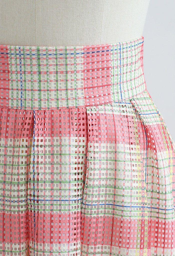 Pastel Plaid Pleated Midi Skirt in Pink