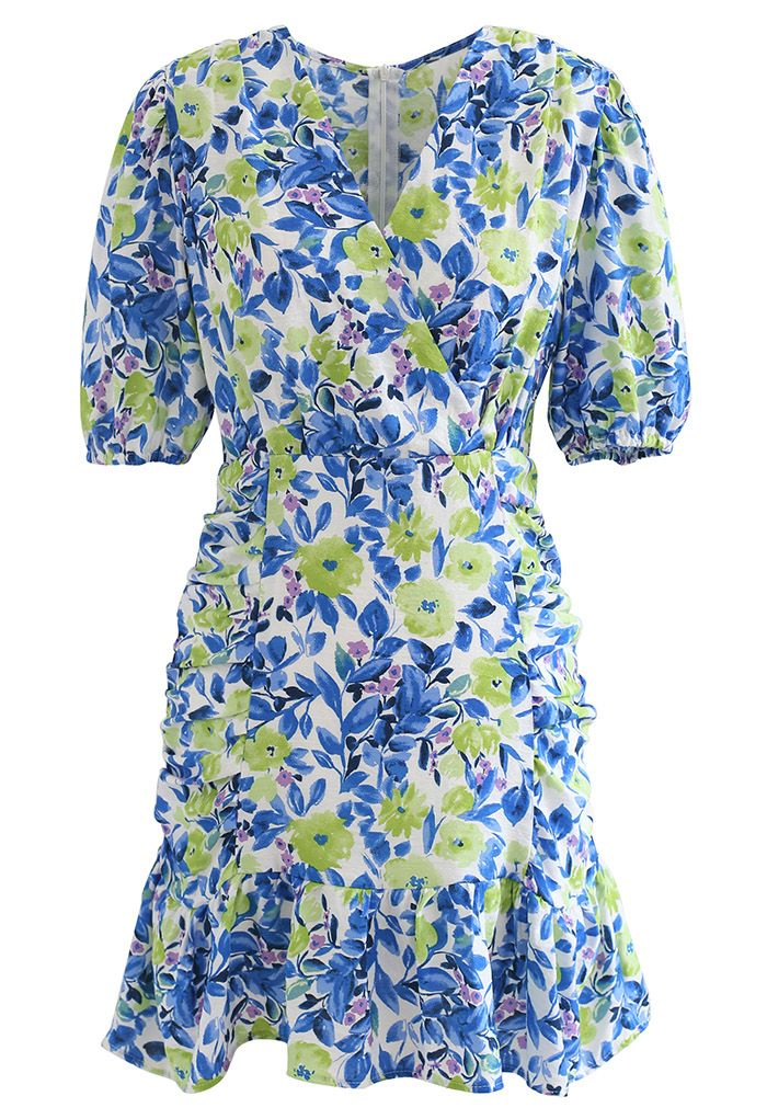 Mini-robe à épaules rembourrées Flower Painting en bleu