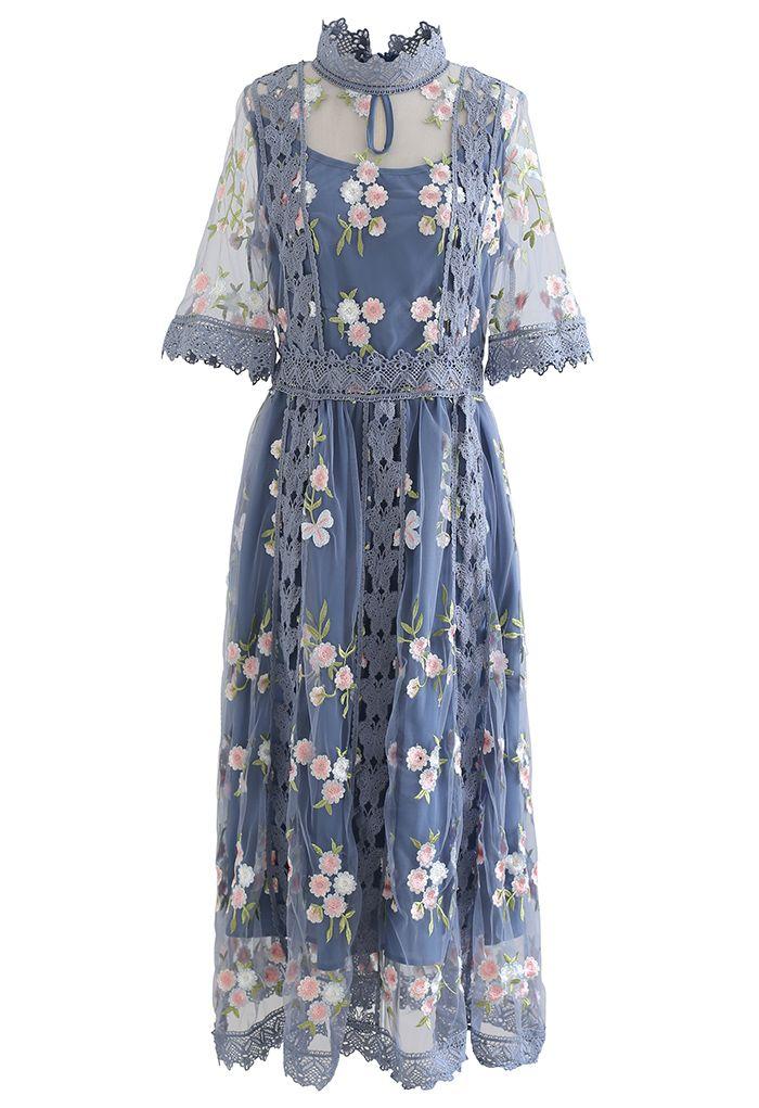 Robe en maille à bordure en crochet brodée Garden Glamour