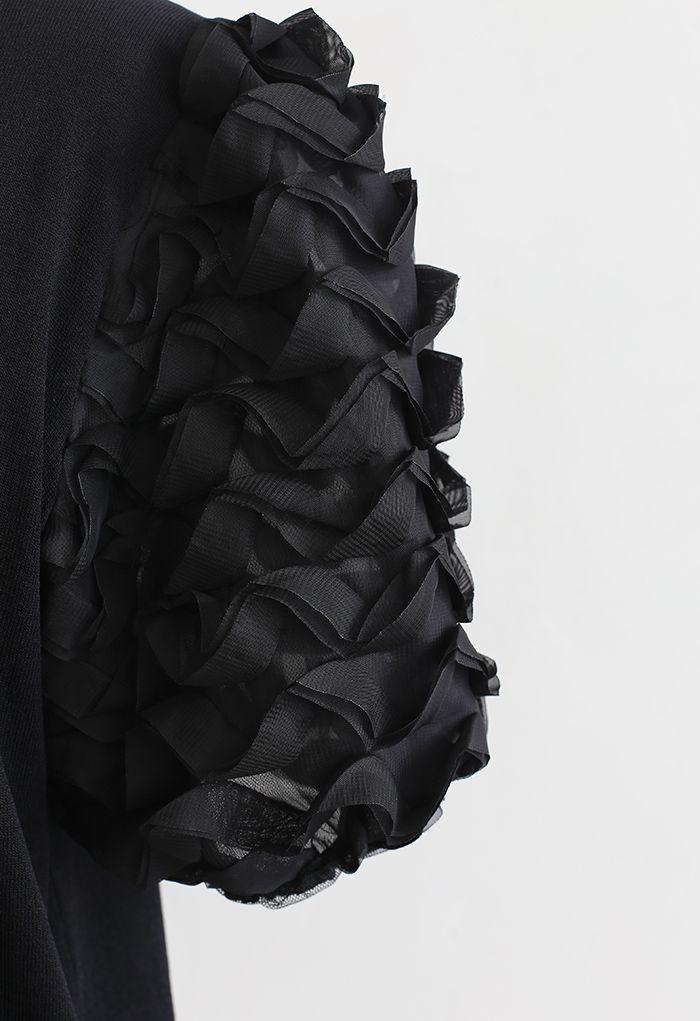 Haut en tricot à manches bulles 3D en noir