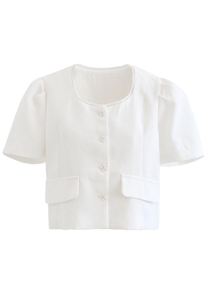 Blazer court texturé boutonné à fausse poche en blanc