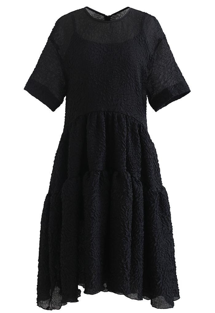 Robe Dolly transparente scintillante en relief à volants en noir