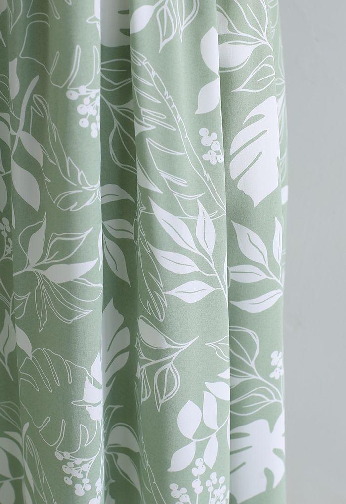 Botanical Garden - Robe portefeuille midi nouée en vert