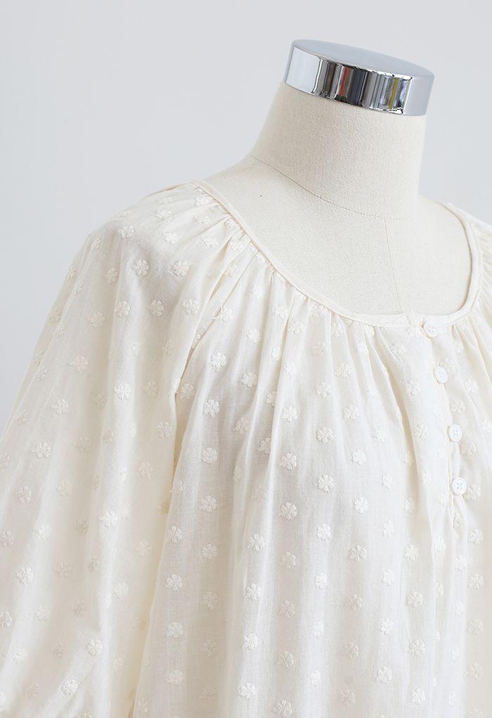 Haut en coton brodé à fleurs en crème