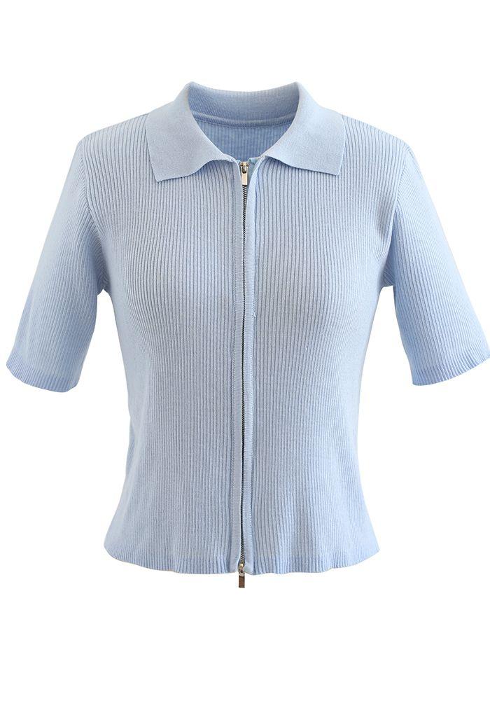 Cardigan en tricot côtelé à manches courtes et double fermeture éclair en bleu poussiéreux