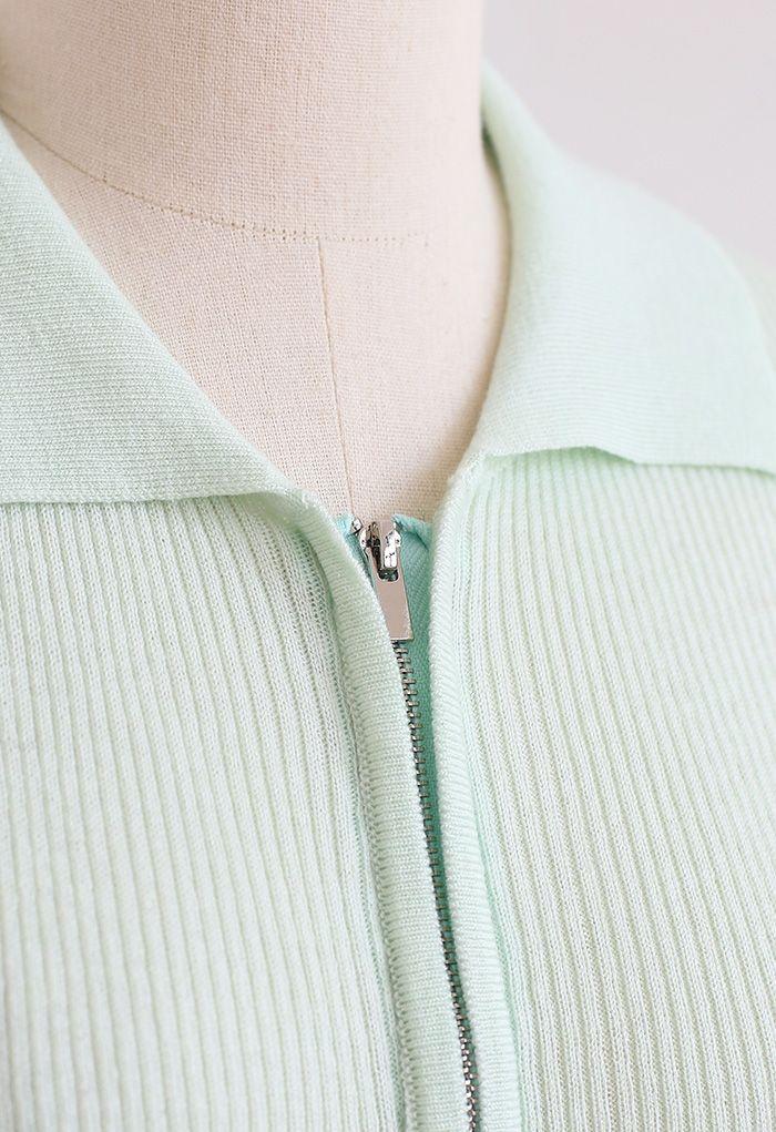 Cardigan en tricot côtelé à manches courtes et double fermeture éclair en vert clair