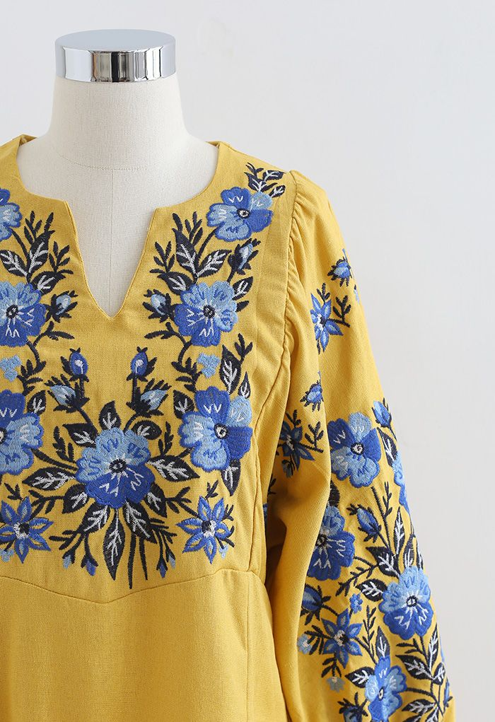 Robe Boho Ethnique Florale Brodée Col V