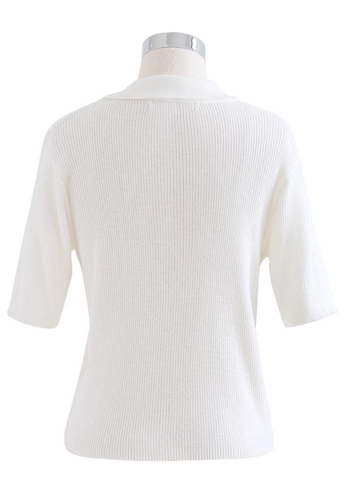 Cardigan en tricot côtelé à manches courtes et double fermeture éclair en blanc