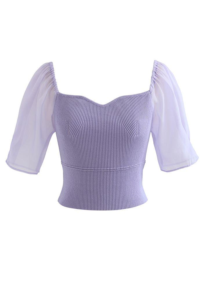 Haut court en tricot à manches épissées et col en cœur en violet