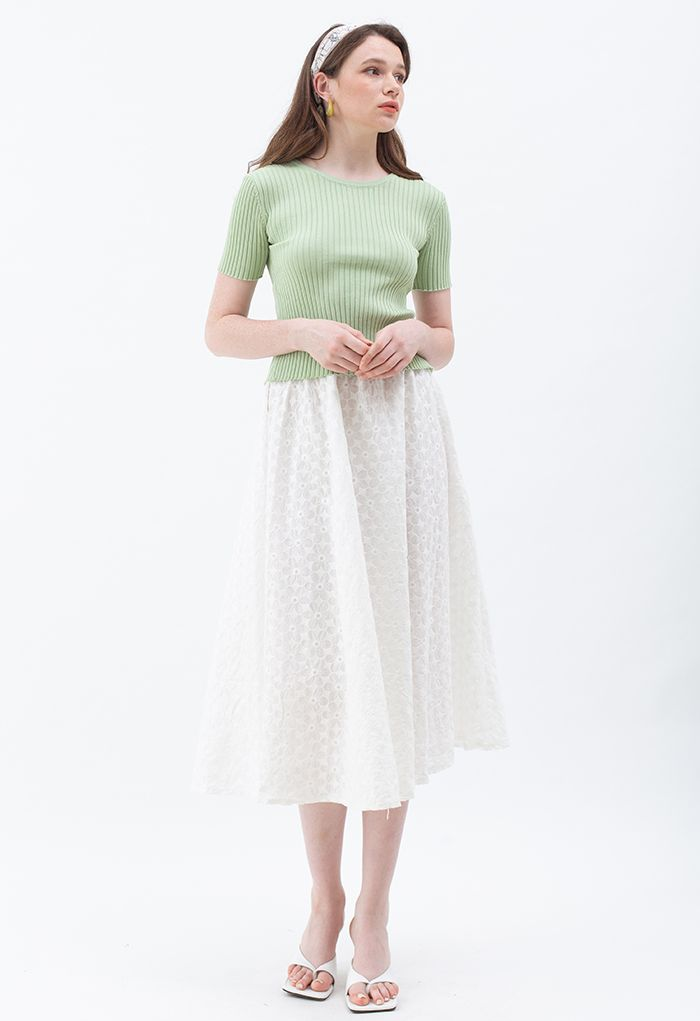 Open Back Fitted Knit Top in Green