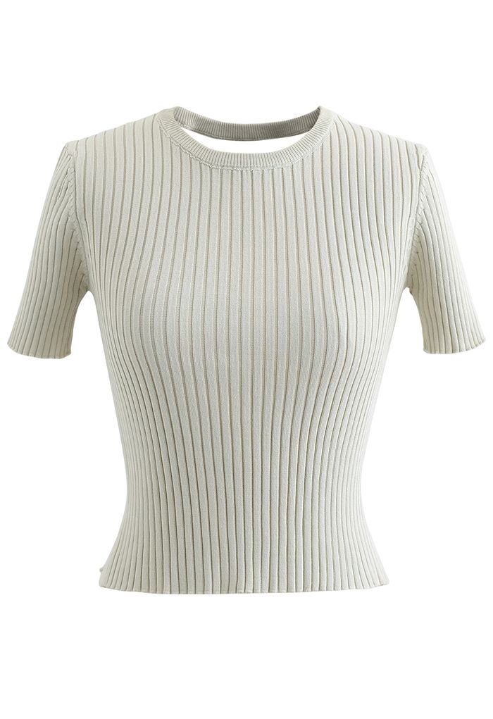 Open Back Fitted Knit Top in Sage