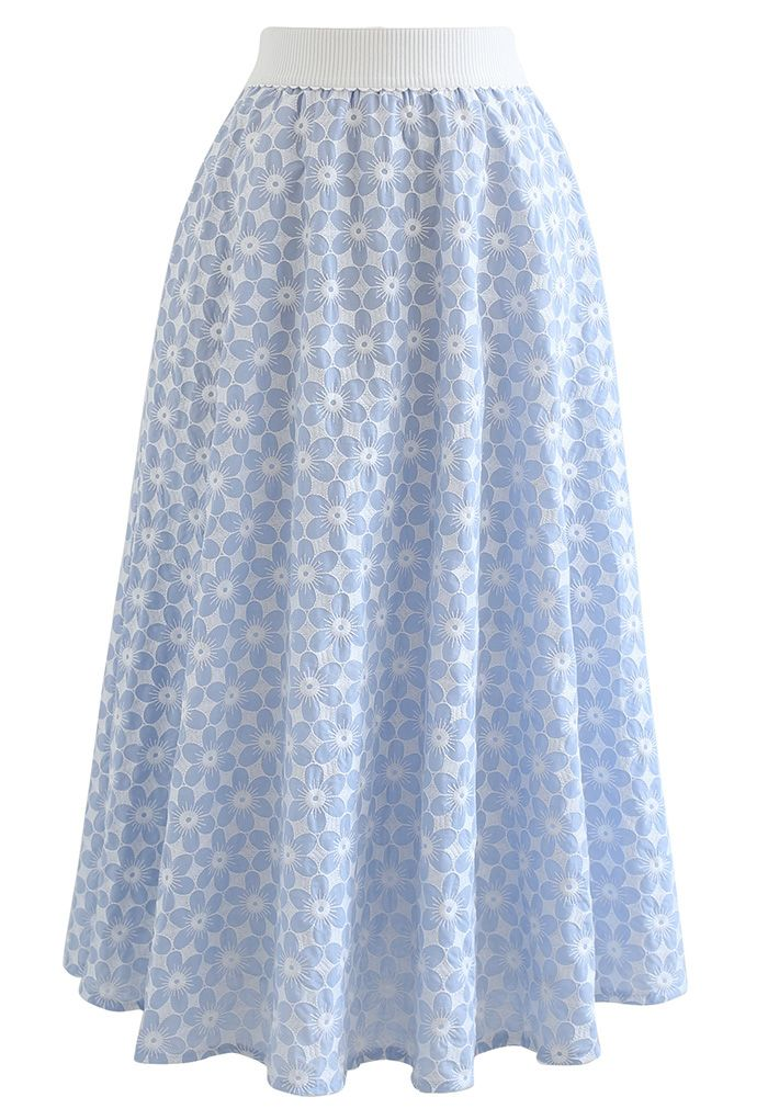 Embroidered Daisy Midi Skirt in Light Blue