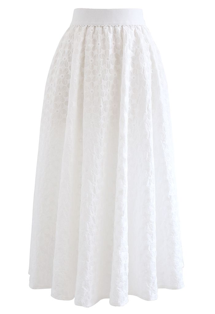 Embroidered Daisy Midi Skirt in White