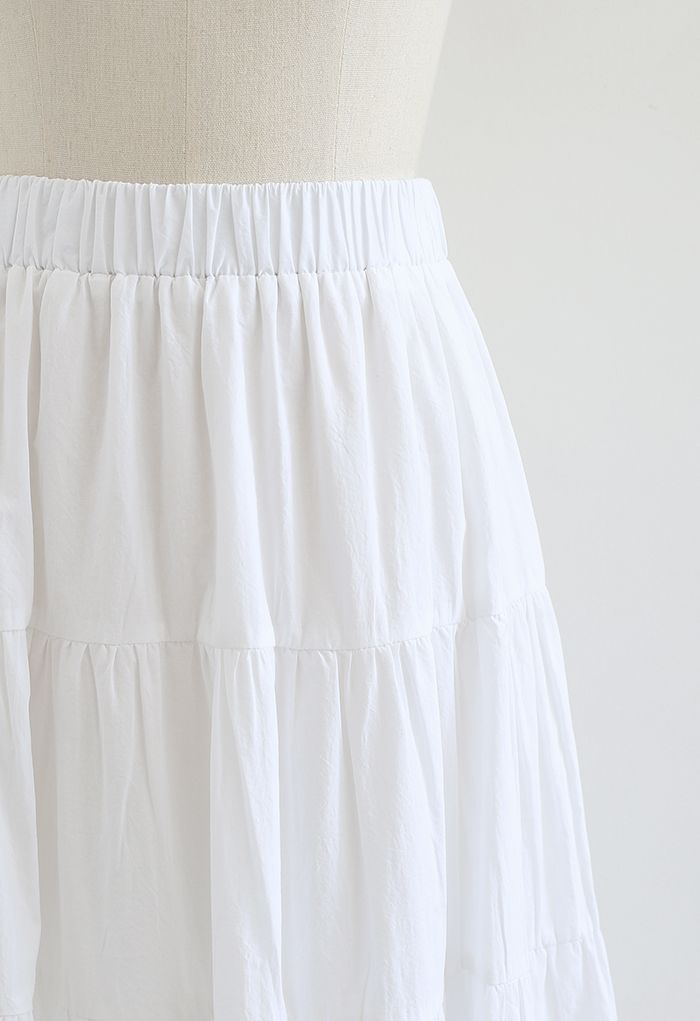 Solid Color Frilling Cotton Midi Skirt in White
