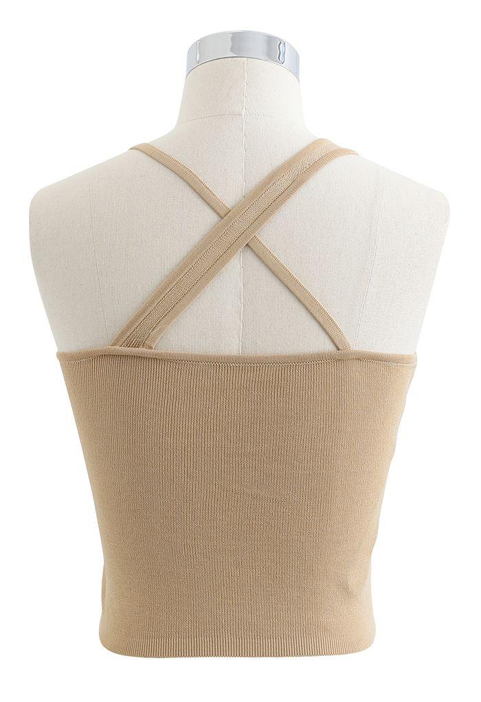 Strappy Knit Bra Top in Tan