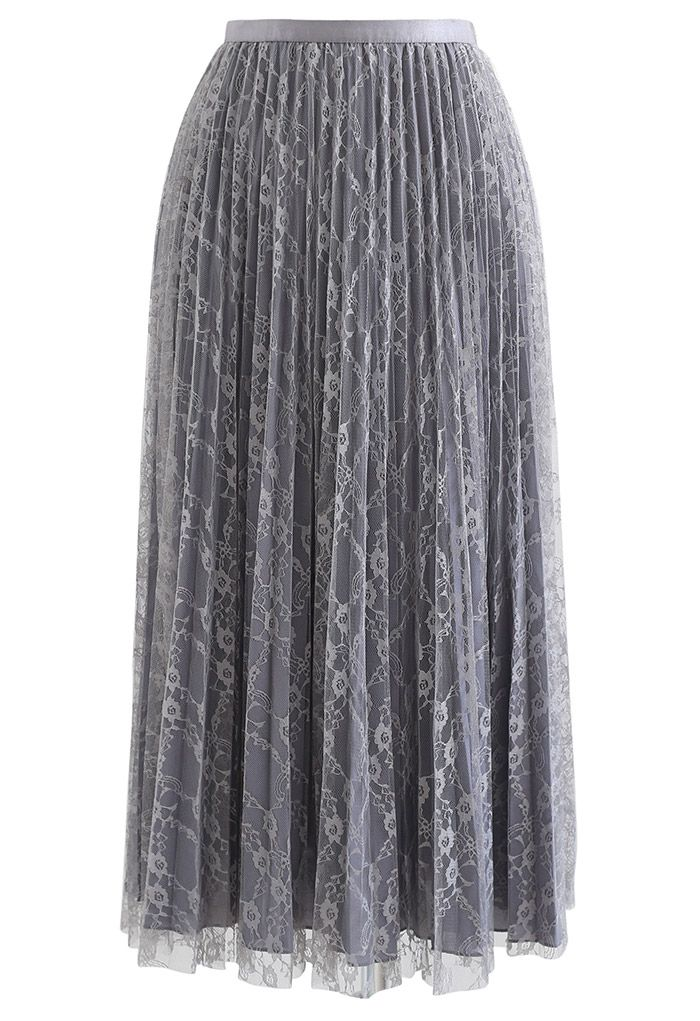 Full Lace Pleated Midi Skirt in Grey