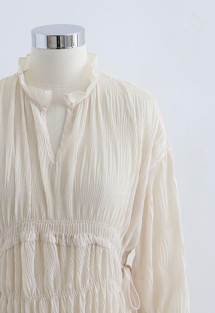 Full Shirring Side Drawstring Chiffon Dress in Cream