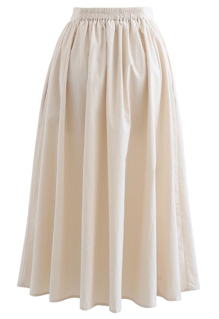 Versatile Cotton Midi Skirt in Cream