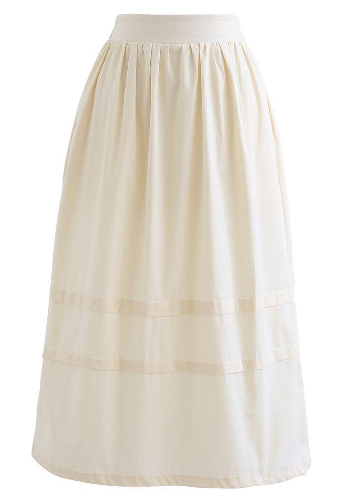 Pintuck Detail Decorated Midi Skirt in Cream