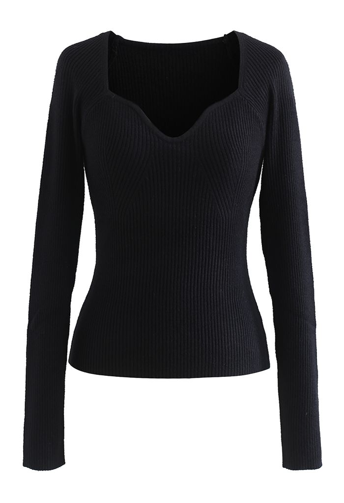 Square Neck Long Sleeves Fitted Knit Top in Black
