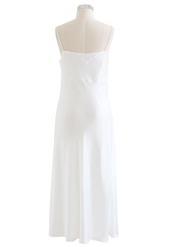 Draped Neck Self-Tie Satin Cami Dress in White