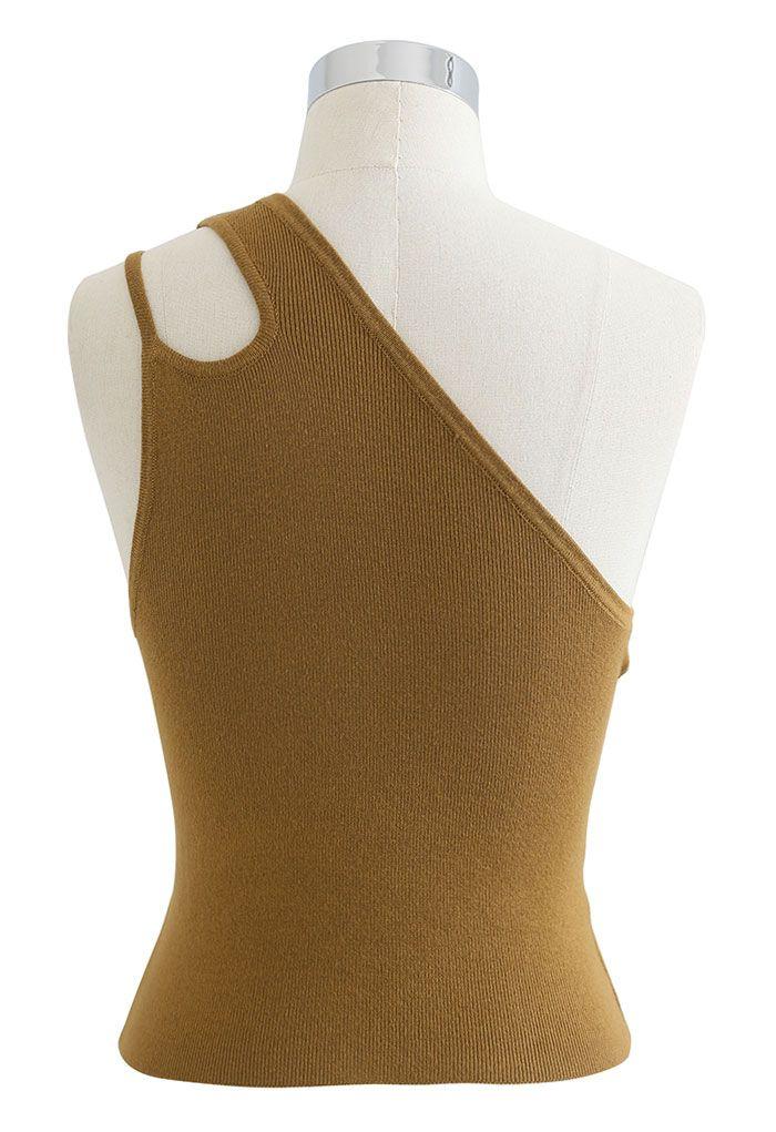 Dual Strap One-Shoulder Crop Knit Top in Caramel