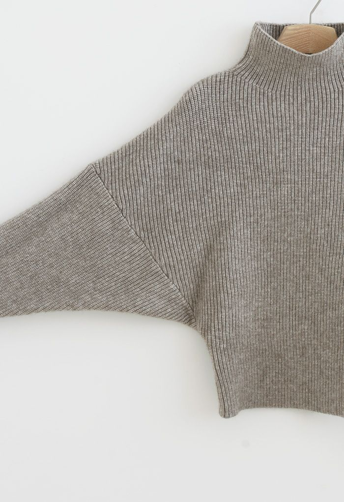 Batwing Sleeves Turtleneck Rib Knit Sweater in Sand