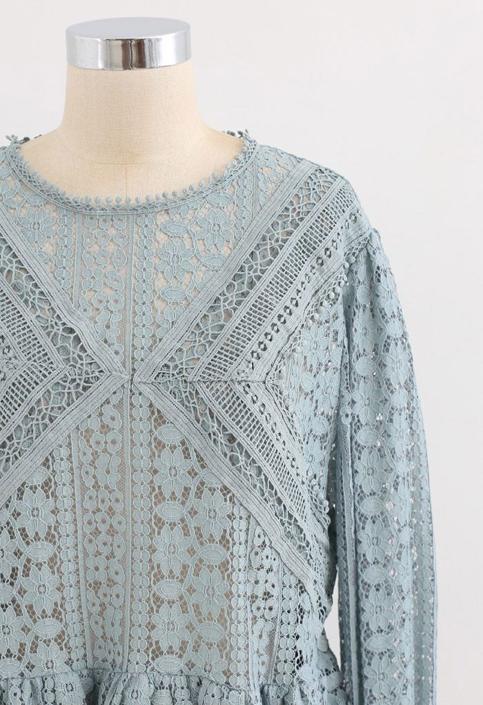 Crochet Lace Tiered Peplum Top in Dusty Blue