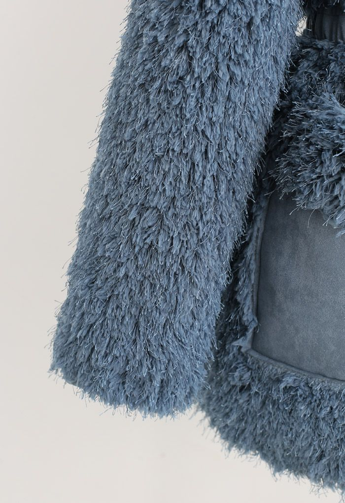 Collarless Fluffy Teddy Suede Coat in Teal
