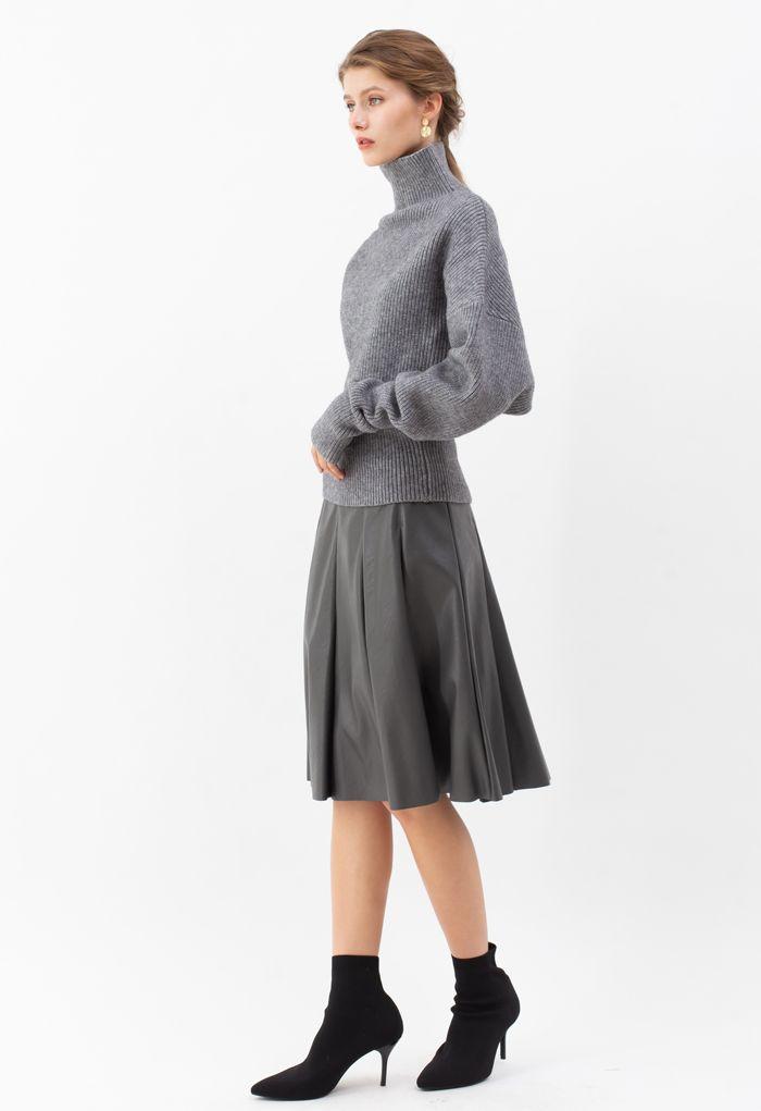 Batwing Sleeves Turtleneck Rib Knit Sweater in Grey
