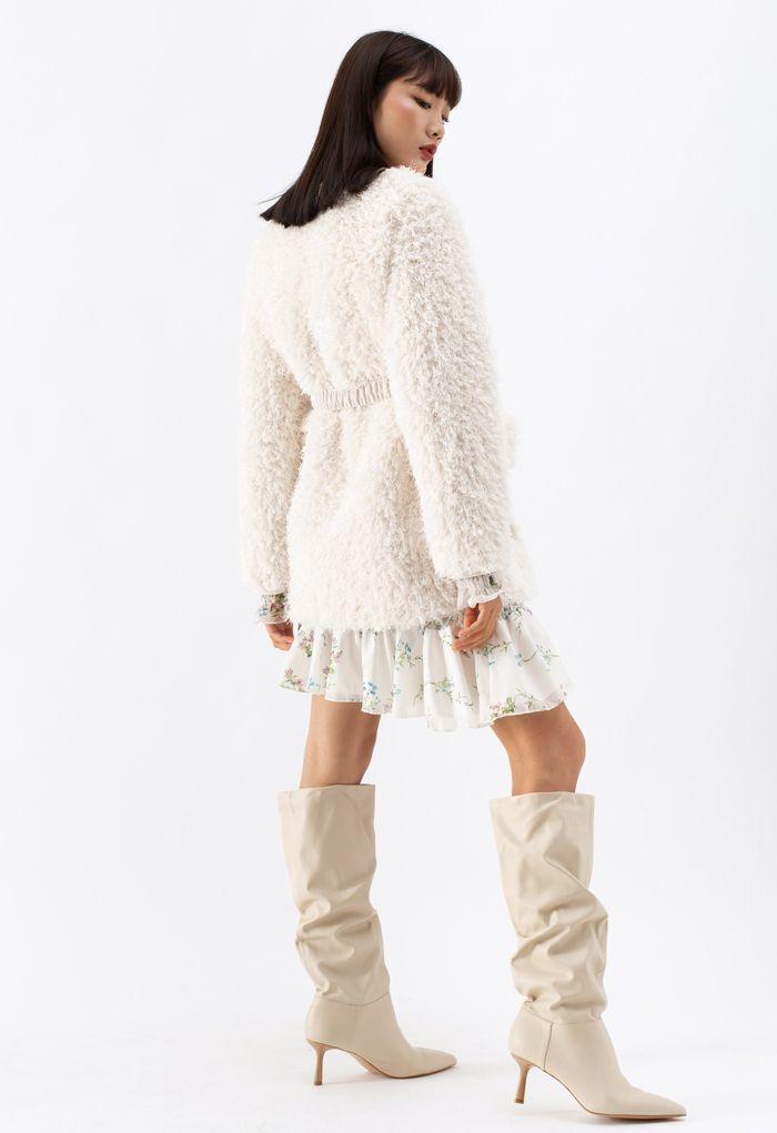 Collarless Fluffy Teddy Suede Coat in Ivory