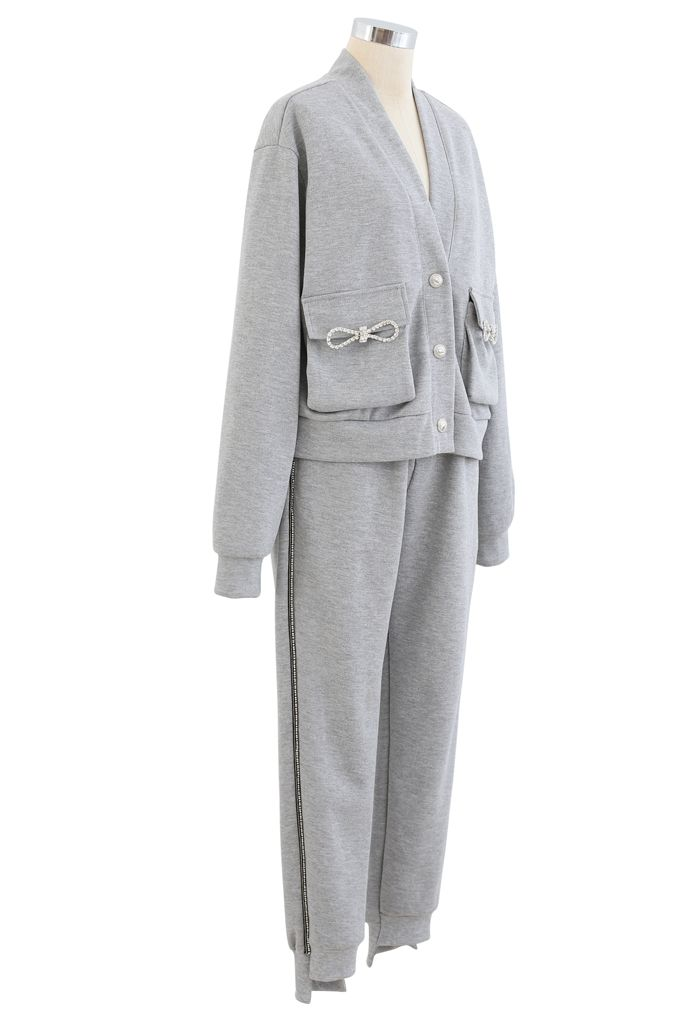 Pockets Button Up Cardigan and Crop Joggers Set in Grey