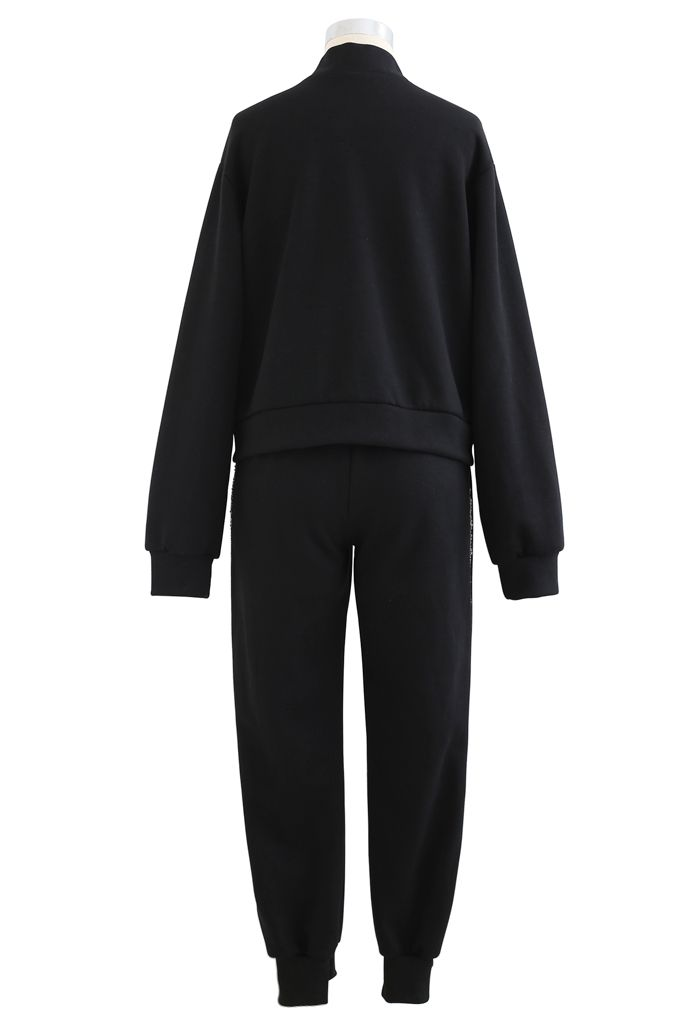 Pockets Button Up Cardigan and Crop Joggers Set in Black