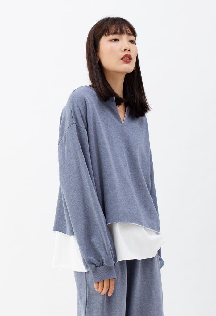 Fake Two-Piece Raw Cut Hem Sweatshirt in Blue