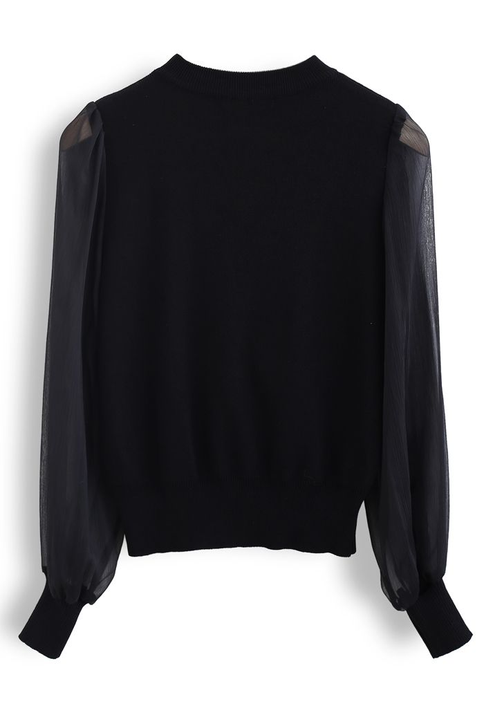 Sheer Sleeves Wrapped Knit Top in Black