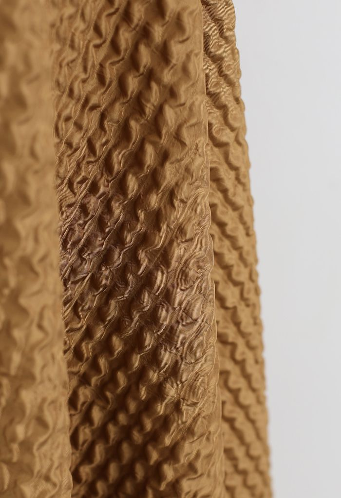 Ripple Embossed A-Line Maxi Skirt in Caramel