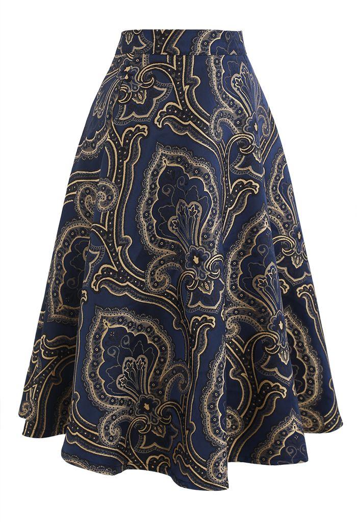 Embroidered Jacquard Floral Flare Midi Skirt