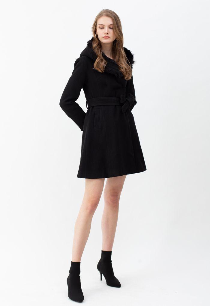 Faux Fur Hooded Wool-Blend Flare Coat in Black