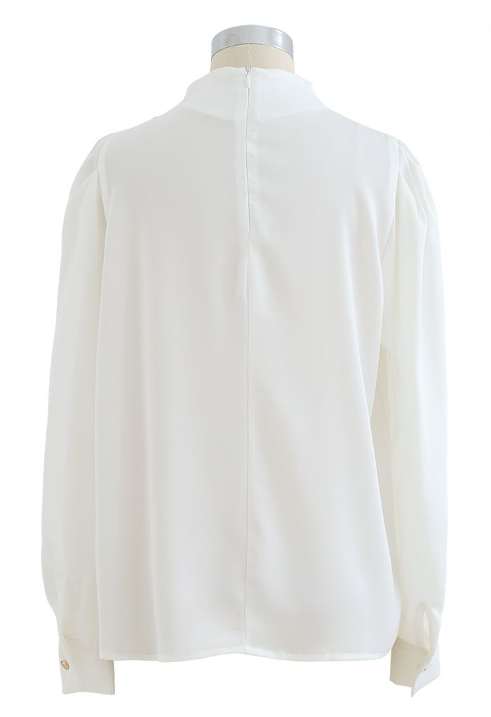 Buttoned Ruched Neck Satin Top in White
