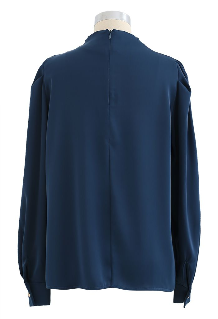 Buttoned Ruched Neck Satin Top in Indigo