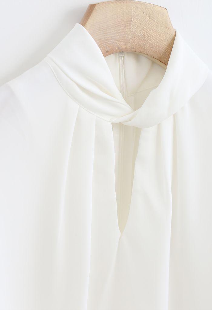 Twist Cutout Neck Satin Top in White
