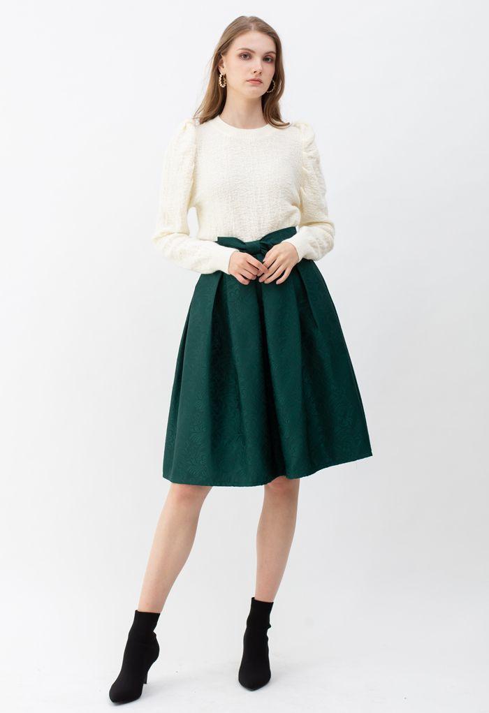 Bowknot Pleated Jacquard Midi Skirt in Emerald