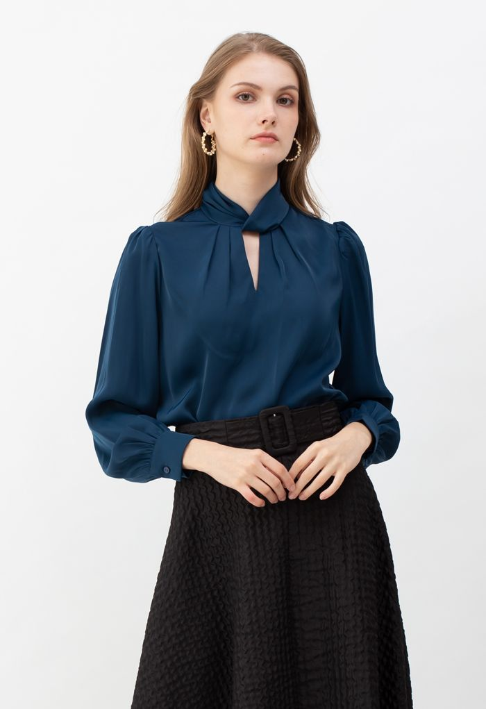 Twist Cutout Neck Satin Top in Indigo